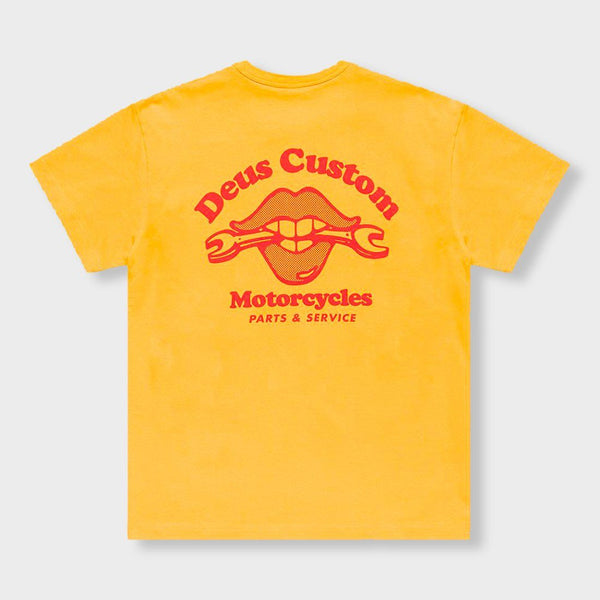 product: Deus Ex Machina Lips T-Shirt Butterscotch Yellow