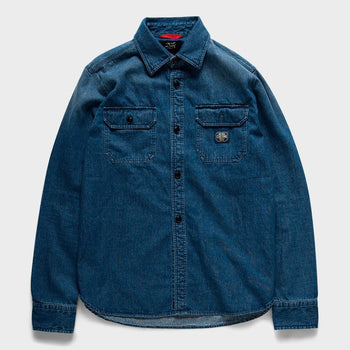 product: Deus Ex Machina Maxwell Workers Shirt Light Indigo