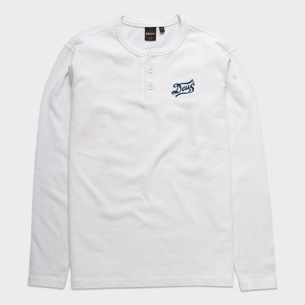 product: Deus Ex Machina Station Henley Shirt Vintage White