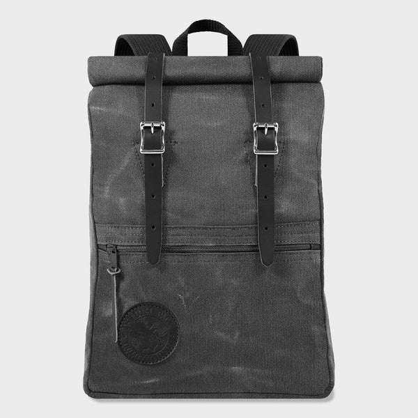 product: Duluth Pack Scout Pack Roll Top Waxed Grey