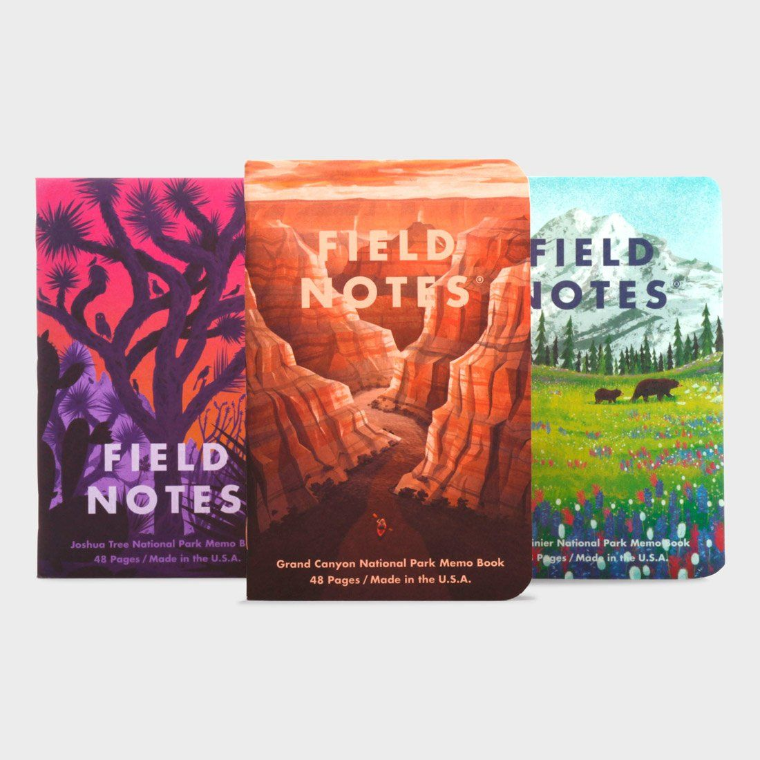 Field Notes National Parks Series (3-Pack) Grand Canyon, Joshua Tree, Mt. Rainier