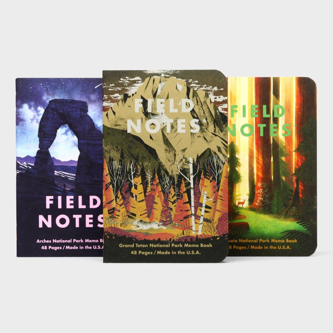 Field Notes National Parks Series (3-Pack) Grand Teton, Arches and Sequoia
