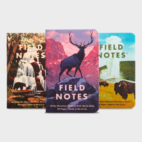 product: Field Notes National Parks Series (3-Pack) Rocky Mountains, Great Smokey Mountains, Yellowstone