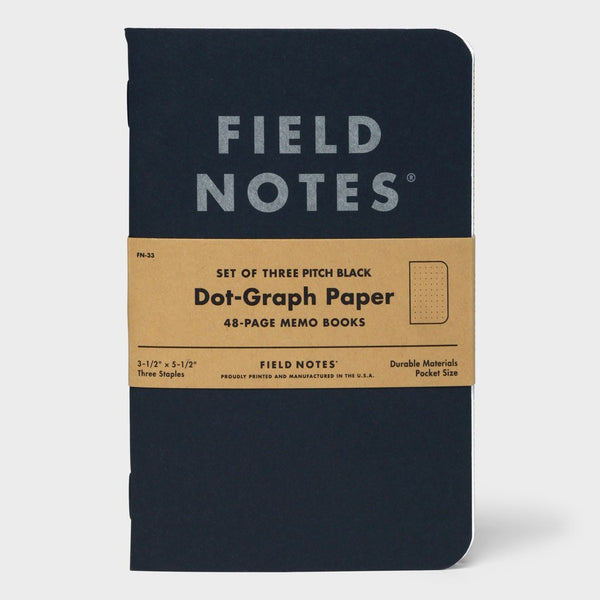 product: Field Notes Pitch Black - Dot Graph 3-Pack Memo Book