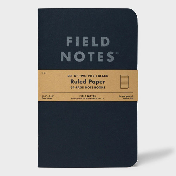 product: Field Notes Pitch Black - Ruled 3-Pack Memo Book