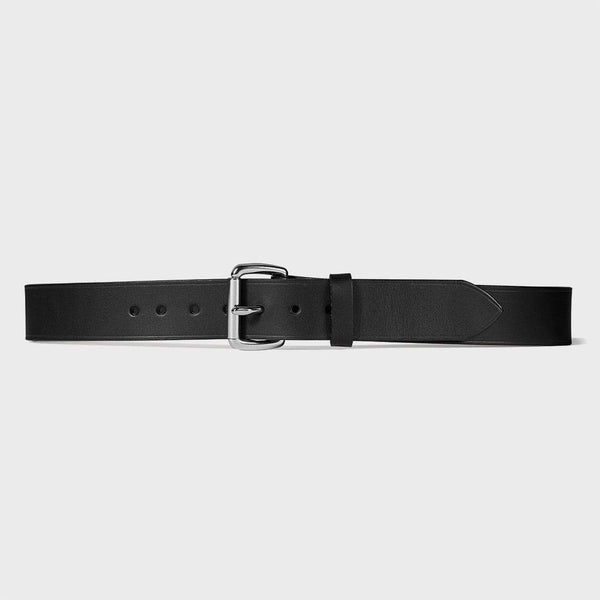 "product: Filson 1 1/2"" Leather Belt Black/ Stainless Steel"