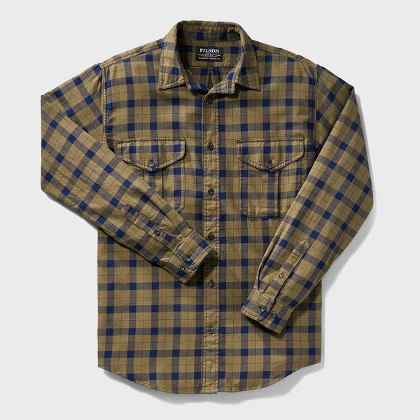 product: Filson Lightweight Alaskan Guide Shirt Heather Tan Navy