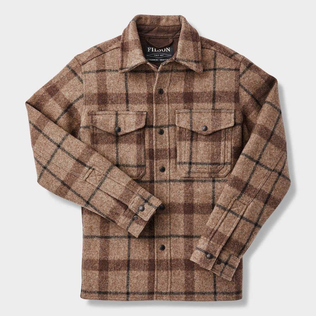 Filson Mackinaw Jac-Shirt Taupe/ Brown/ Black Plaid