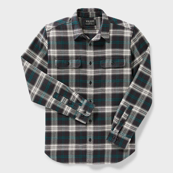 product: Filson Vintage Flannel Work Shirt Black/ Teal/ Cream Plaid