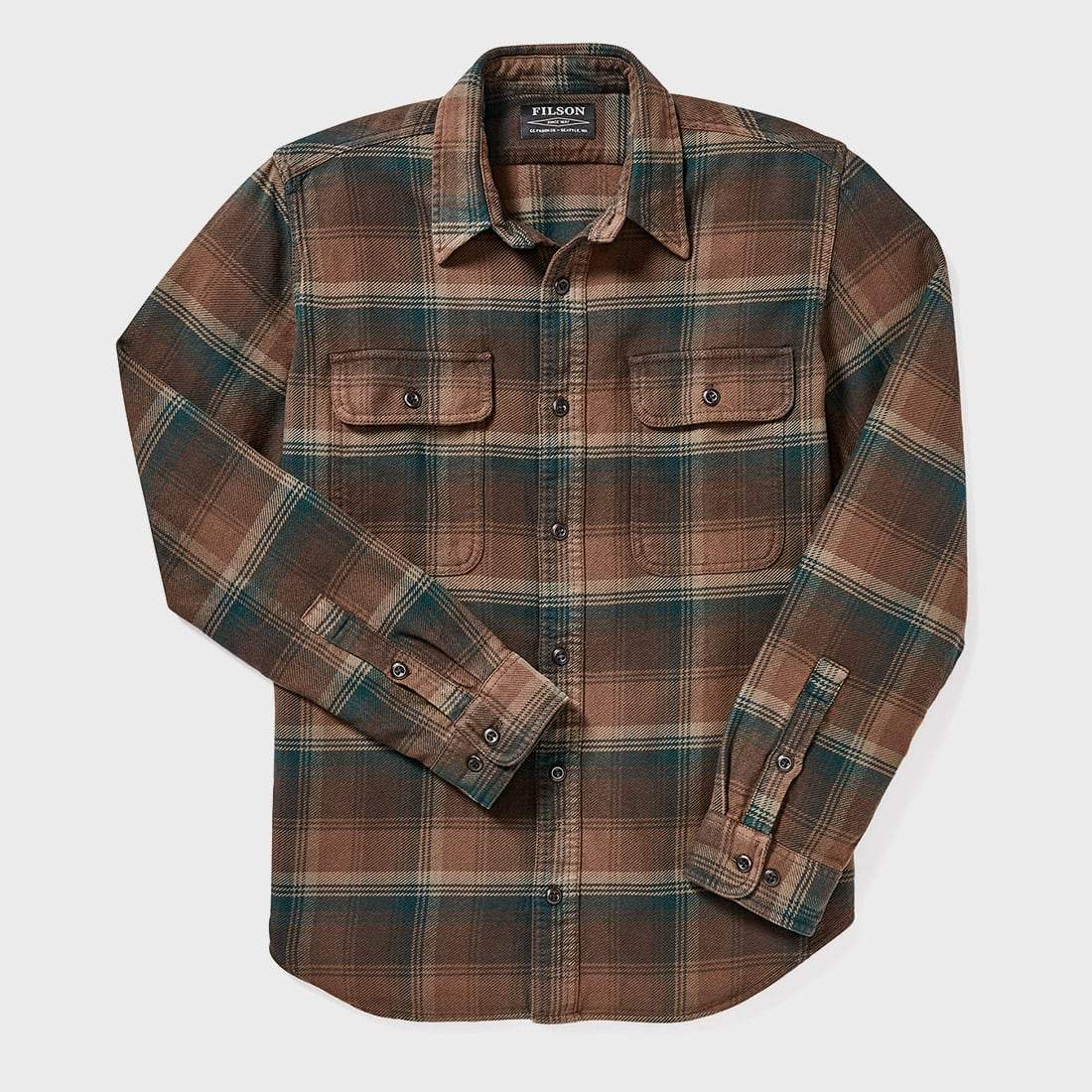 Filson Vintage Flannel Work Shirt Chocolate/ Green/ Tan Plaid