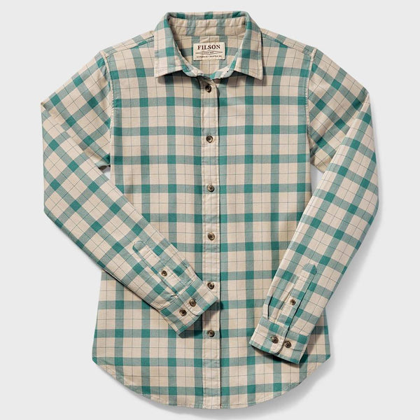 product: Filson Women's Lightweight Alaskan Guide Shirt Cream Turquoise Plaid