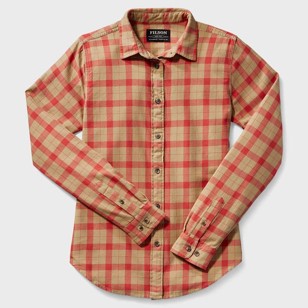 product: Filson Women's Lightweight Alaskan Guide Shirt Khaki Salem Plaid