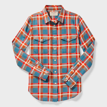 product: Filson Women's Scout Shirt Dark Teal/ Brown/ Red