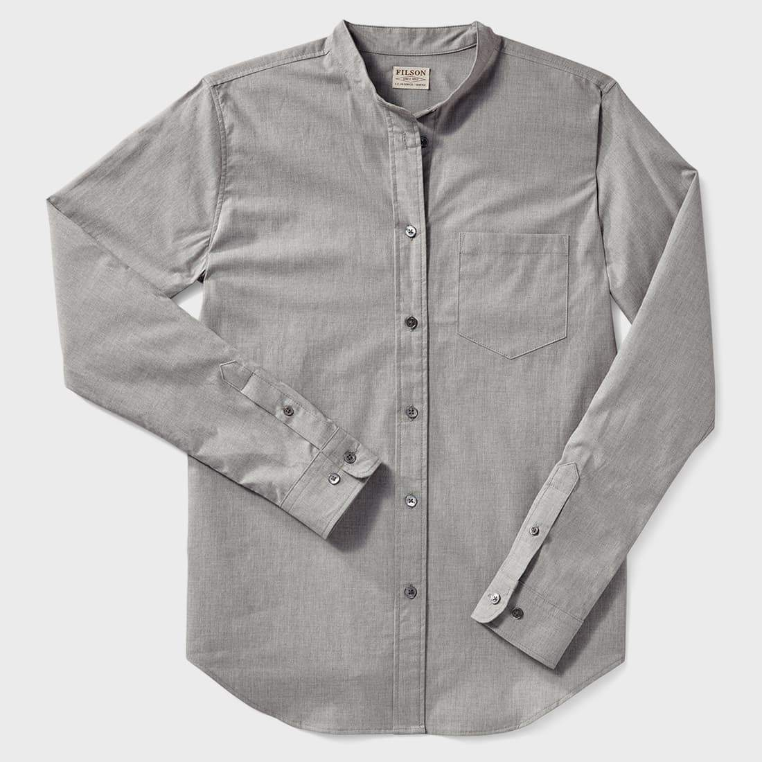 Filson Womens Shelton Banded Collar Shirt Heather Gray Wayward