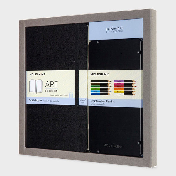 product: Moleskine Colouring Kit - Sketch Book and Watercolour Pencils Black
