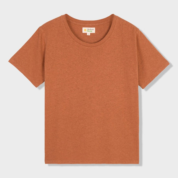 product: Mollusk Women's Hemp Tomboy T-Shirt Orange Earth