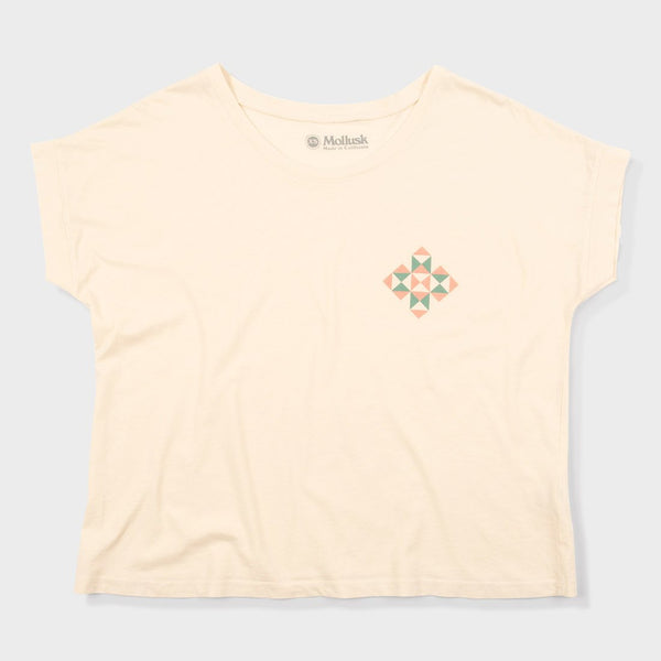 product: Mollusk Women's Puzzle Quilt T-Shirt Natural
