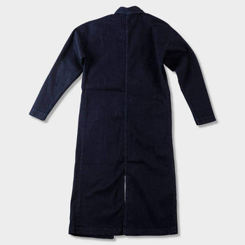 product: Naked & Famous Duster Coat Indigo Stretch Denim