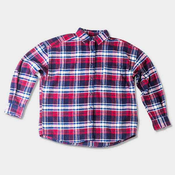 product: Naked & Famous Heavy Brushed Flannel Red / Navy