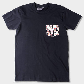 product: Naked & Famous Pocket T-shirt Black + Lucky Cats