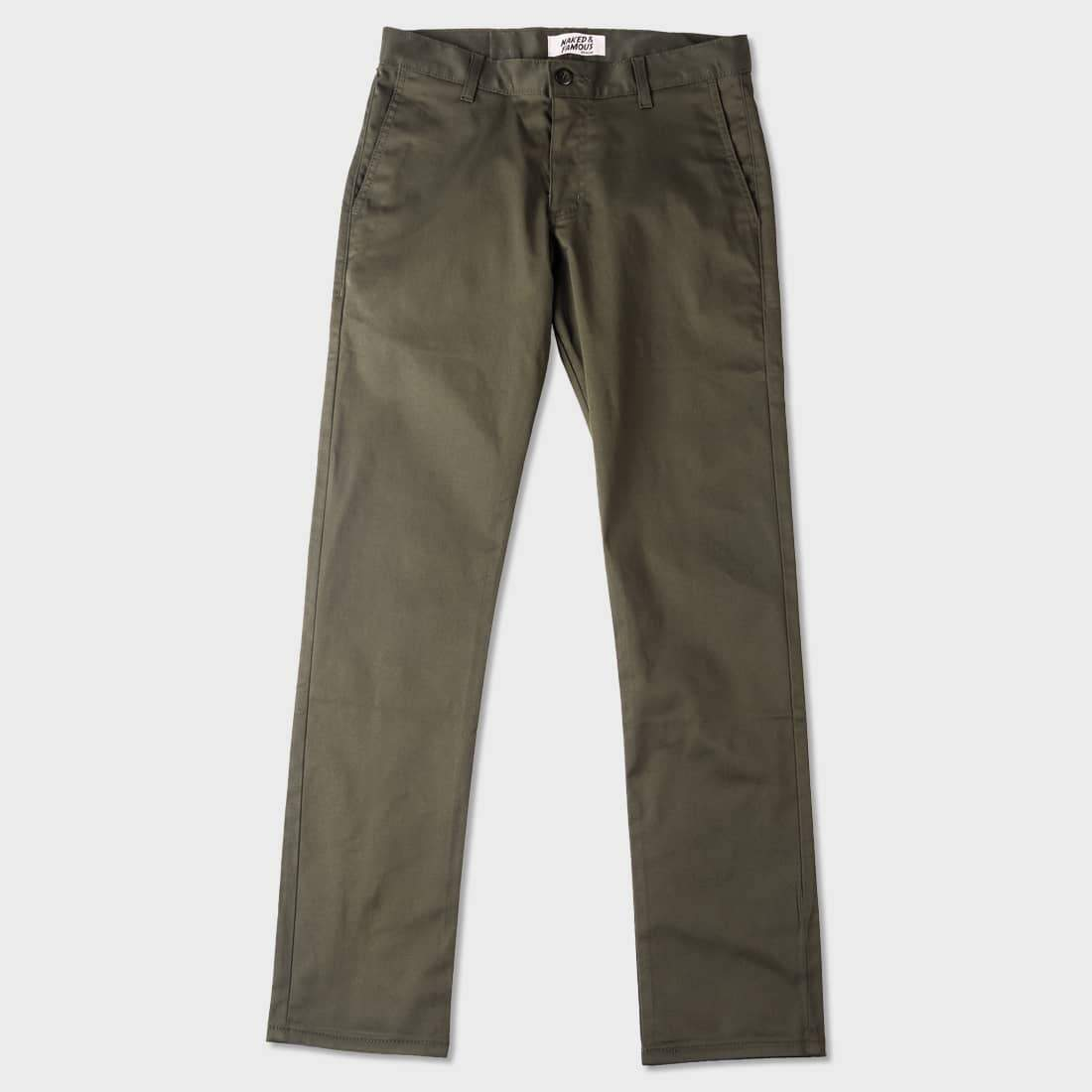 Naked & Famous Slim Chino Stretch Twill Khaki Green