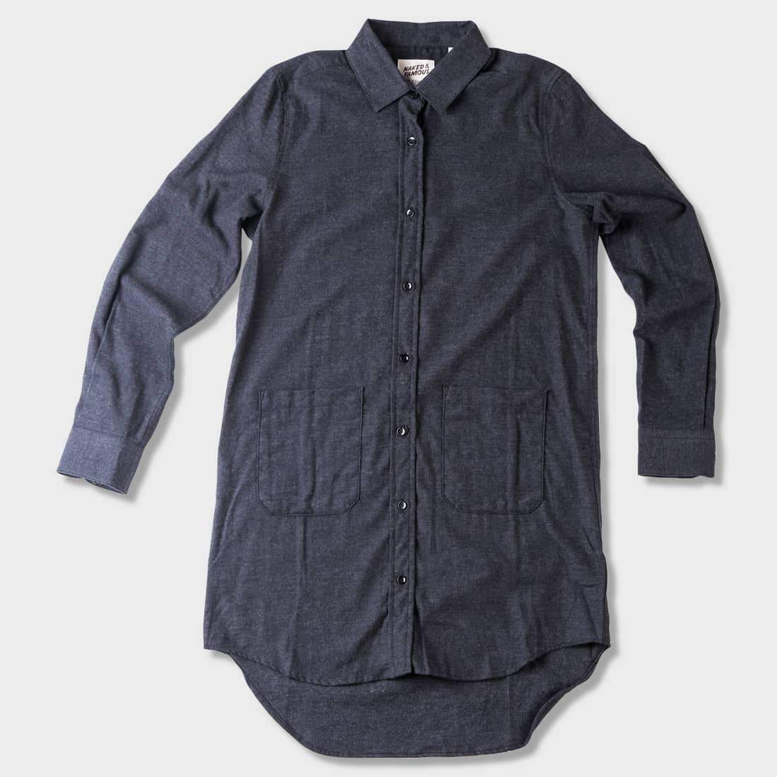 Naked & Famous Soft Brushed Twill Long Shirt Charcoal