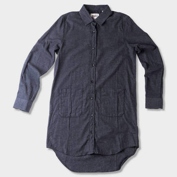 product: Naked & Famous Soft Brushed Twill Long Shirt Charcoal