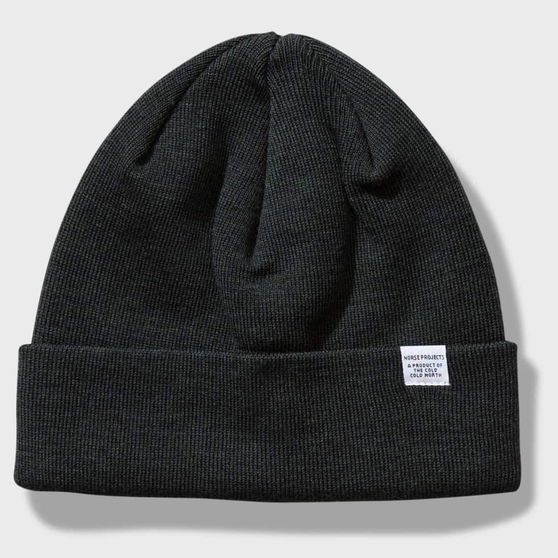 Norse Projects Lambswool Top Beanie Moss Green