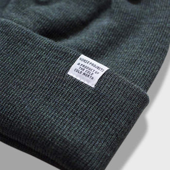 product: Norse Projects Lambswool Top Beanie Moss Green