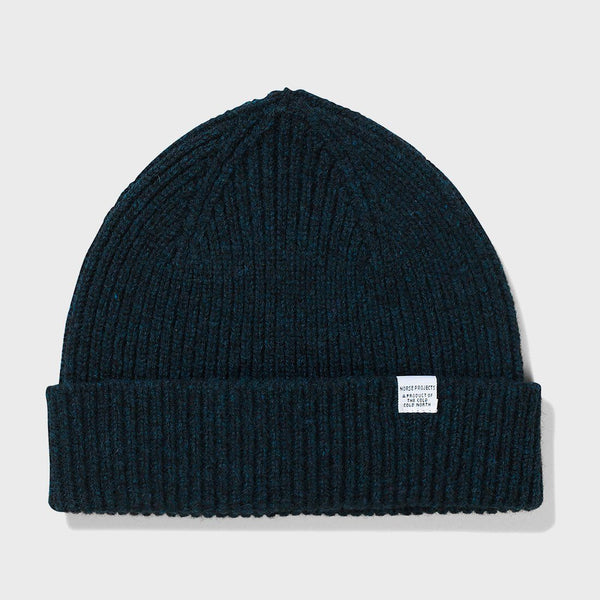product: Norse Projects Lambswool Beanie Dark Navy