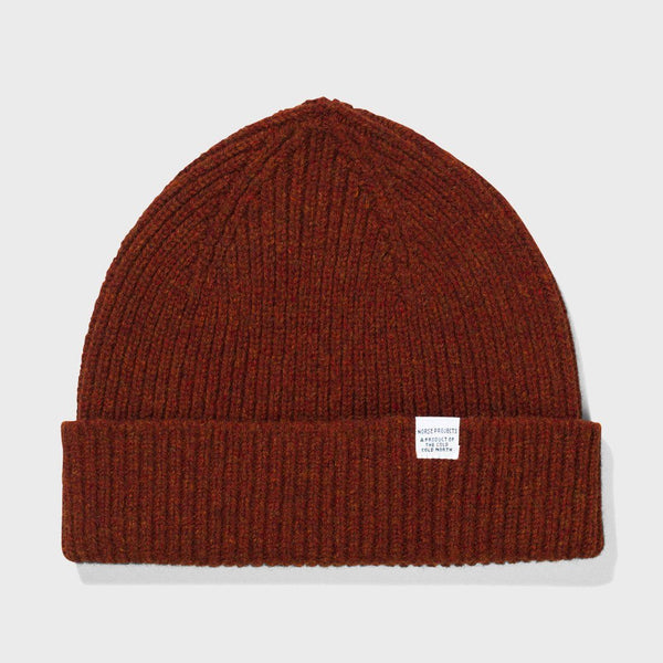 product: Norse Projects Lambswool Beanie Zircon Brown