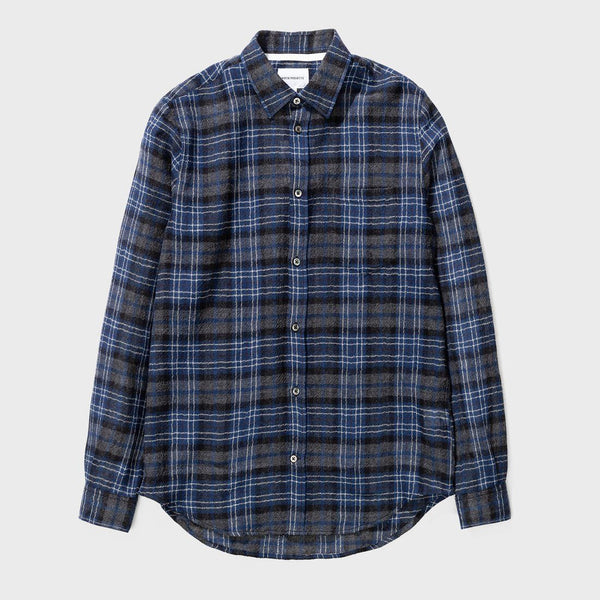 product: Norse Projects Osvald Japanese Gause Check Dark Navy