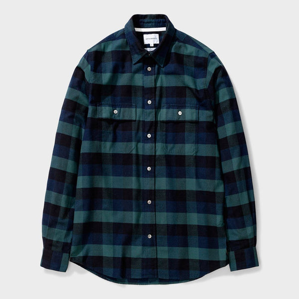 product: Norse Projects Villad Brushed Flannel Check Dark Navy