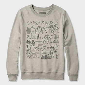 product: Parks Project Iconic NP's Crew Sweatshirt Heather Oatmeal