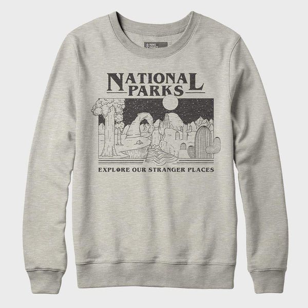 product: Parks Project Stranger Places Crew Sweatshirt Oatmeal