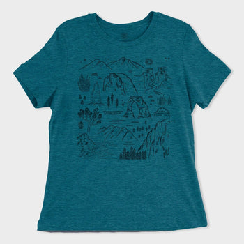product: Parks Project Women's Iconic National Parks T-Shirt Heather Teal