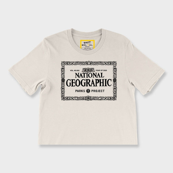 product: Parks Project Women's Nat Geo Legacy Border Crop T-Shirt Vintage White