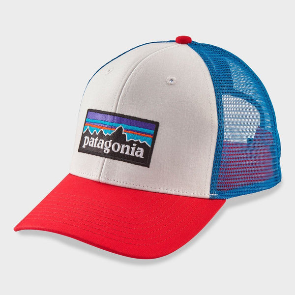 product: Patagonia P-6 Logo Trucker Hat White/ Fire/ Andes Blue
