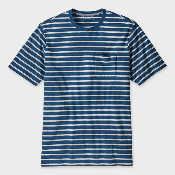product: Patagonia Squeaky Clean Pocket T-Shirt Terrain Stripe Stone Blue