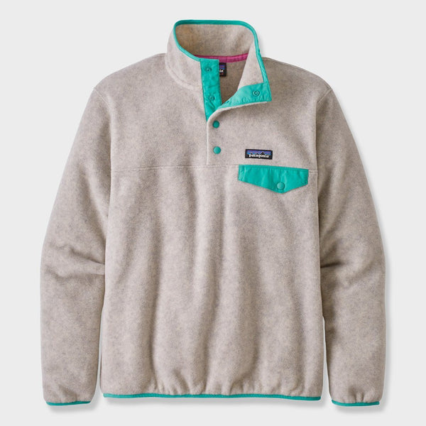 product: Patagonia Women's Synchilla Snap-T Fleece Oatmeal Heather W/ Light Beryl Green