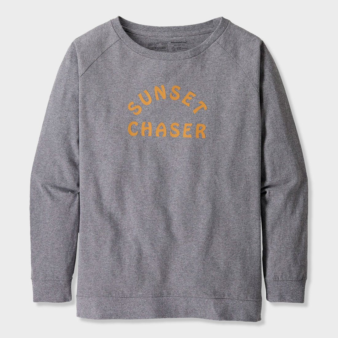 Patagonia Women's Camp I.D Responsibili-tee Gravel Heather w/ Sunset Chaser