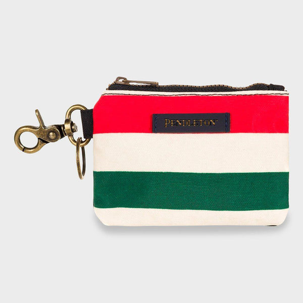 product: Pendleton Canopy Canvas ID Pouch Key Ring Glacier Stripe