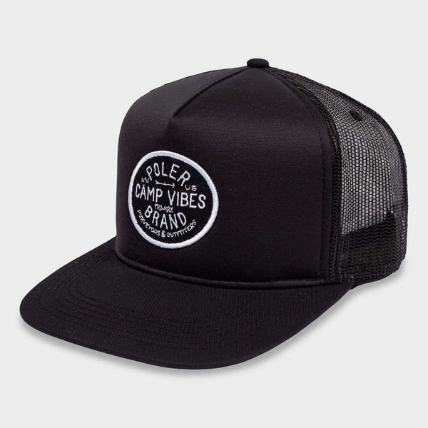 product: Poler Camp Vibes Brand Trucker Black