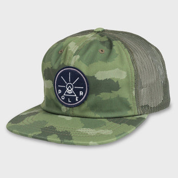 product: Poler Golden Circle Nylon Floppy Green Fury Camo