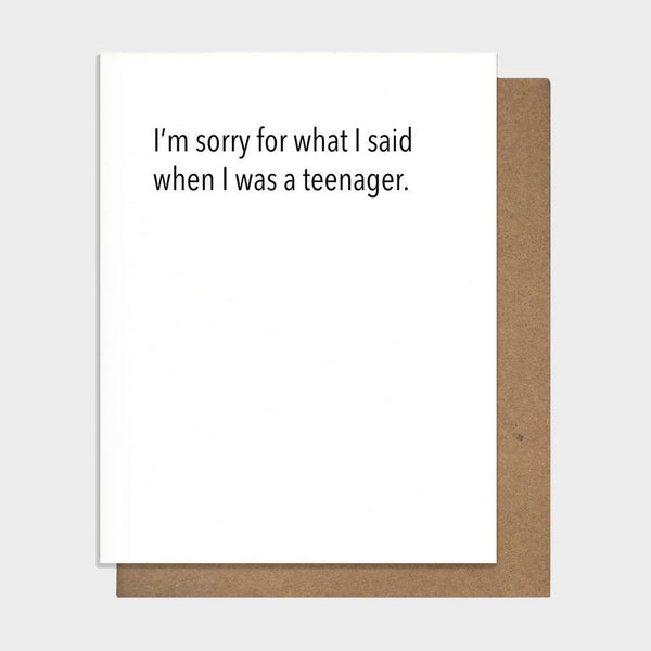 product: Pretty Alright Goods Sorry Teen Mother/ Father's Day Card White