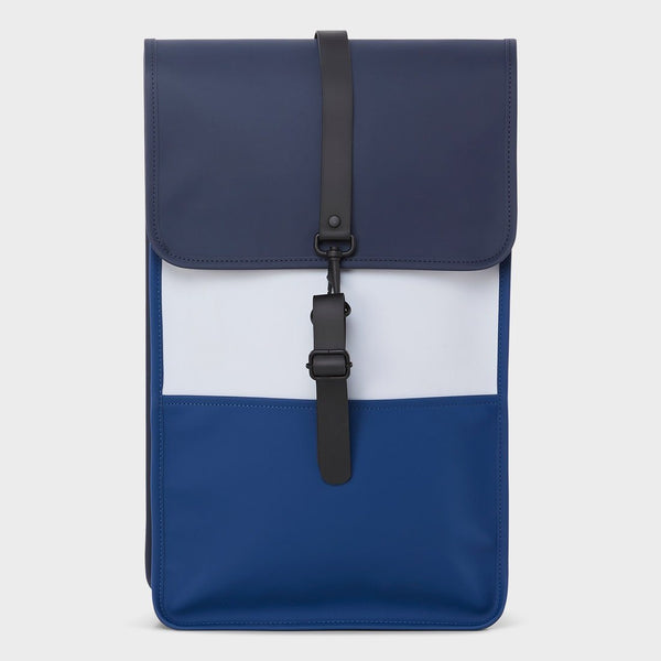 product: RAINS Color Block Backpack Blue/Ice Grey