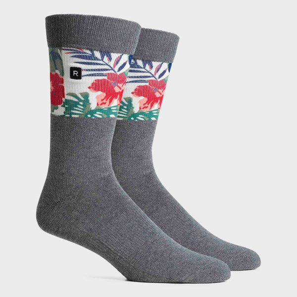 product: Richer Poorer Mahalo Crew Sock Charcoal/ Red
