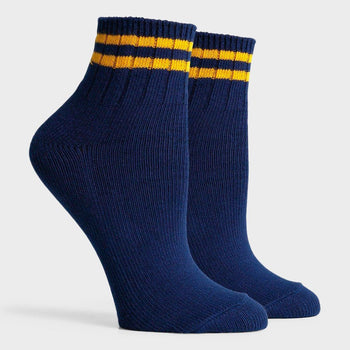 product: Richer Poorer Women's Aria Ankle Sock Navy/ Yellow