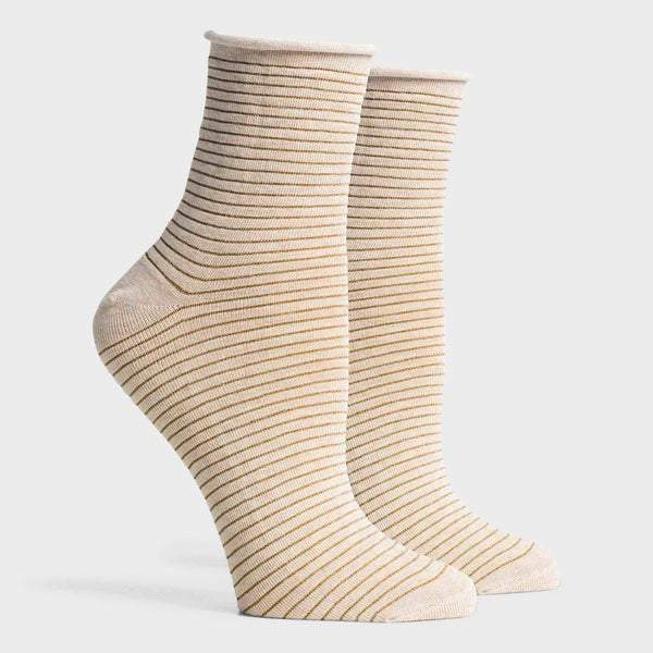 product: Richer Poorer Women's Hari Crew Sock Oatmeal/ Gold