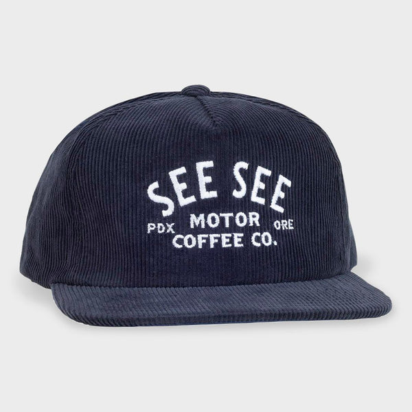 product: See See Moto Classic Corduroy Snapback Hat Navy